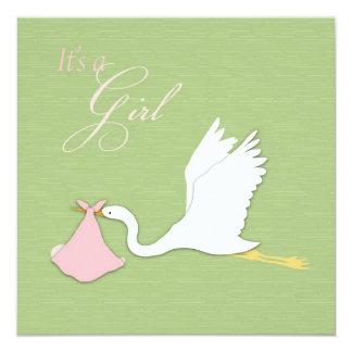 Stork Delivers Girl Baby Shower Invitation Square