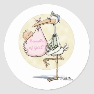 Stork Delivers Girl Classic Round Sticker