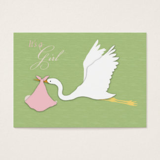 Stork Delivers Girl Thank You Card