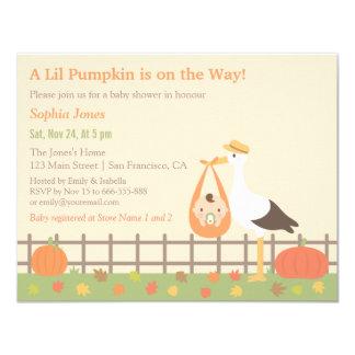 Stork Delivers Pumpkin Baby Shower Invitations