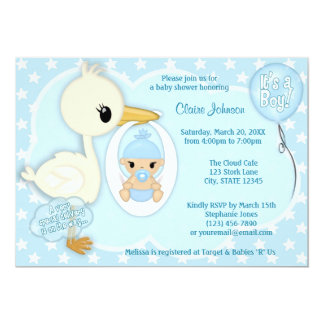 Stork Delivery baby shower invitation BOY BLUE 2A
