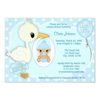 Stork Delivery baby shower invitation BOY BLUE 2B