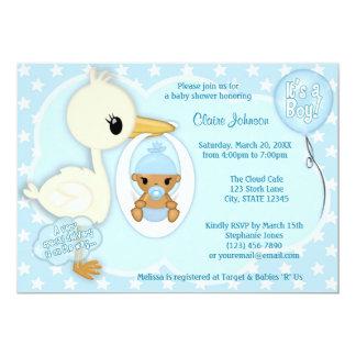 Stork Delivery baby shower invitation BOY BLUE 2C