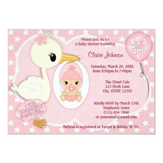 Stork Delivery baby shower invitation GIRL PINK 1A