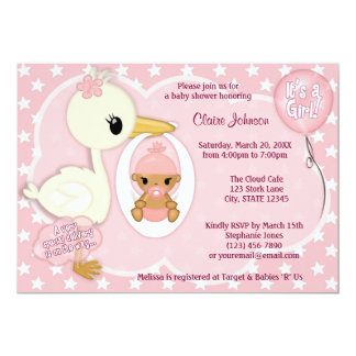 Stork Delivery baby shower invitation GIRL PINK 1C