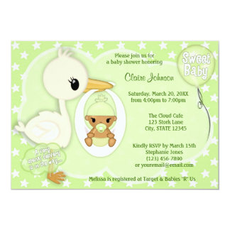 Stork Delivery baby shower invitation GREEN 3C