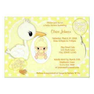 Stork Delivery baby shower invitation YELLOW 4A
