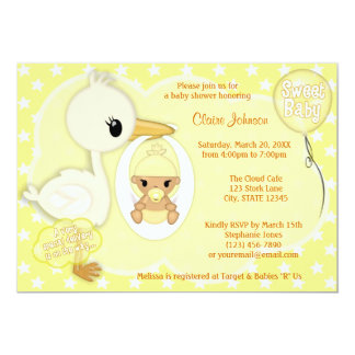 Stork Delivery baby shower invitation YELLOW 4B