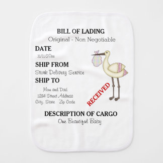 Stork Delivery Bill of Lading Pink Burp Cloth