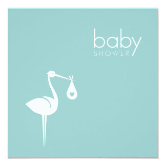 Stork Delivery Boy Blue Baby Shower invitation