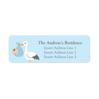 Stork Delivery Cute Baby Boy Bundle Return Address Label