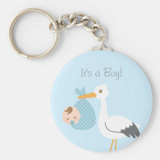 Stork Delivery Cute Baby Boy Shower Party Favor Keychain