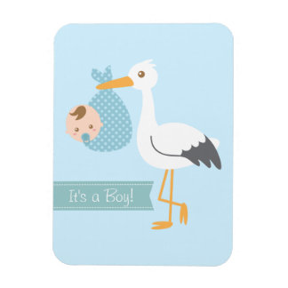 Stork Delivery Cute Baby Boy Shower Party Favor Magnet