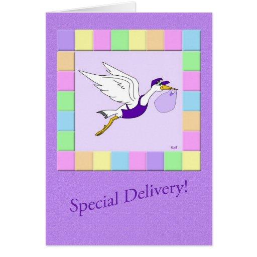 Stork Delivery Service: Lavendar Greeting Card