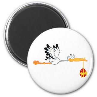 Stork Flying With Easter Egg Magnet