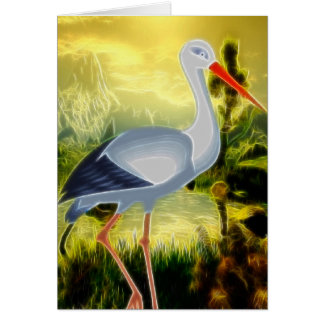 Stork Folk Art BLANK Stationary Card