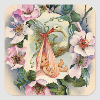 STORK GIRL BABY SHOWER CROWN WITH PINK WILD ROSES SQUARE STICKER