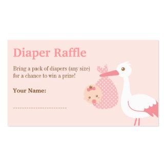 Stork Girl Baby Shower Diaper Raffle Tickets Business Card