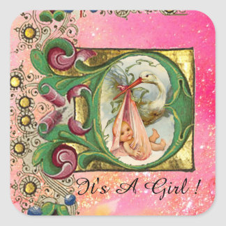 STORK GIRL BABY SHOWER FLORAL PARCHMENT IN PINK SQUARE STICKER