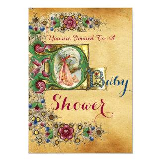 STORK GIRL BABY SHOWER FLORAL PARCHMENT MONOGRAM CARD
