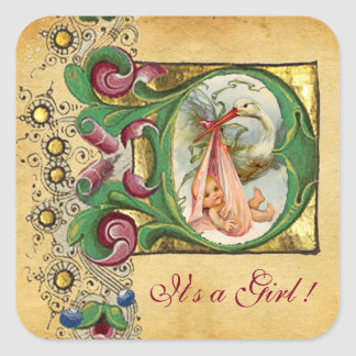 STORK GIRL BABY SHOWER FLORAL PARCHMENT MONOGRAM SQUARE STICKER