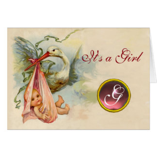 STORK GIRL BABY SHOWER PINK GEM MONOGRAM CARD