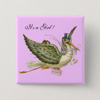 STORK GIRL BABY SHOWER Pink Lilac Pinback Button