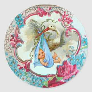 STORK GIRL BABY SHOWER PINK ROSES AND BLUE FLOWERS ROUND STICKERS