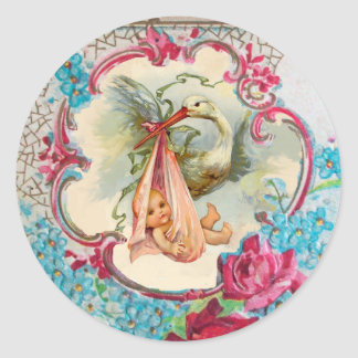 STORK GIRL BABY SHOWER PINK ROSES AND BLUE FLOWERS CLASSIC ROUND STICKER