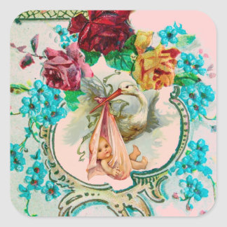 STORK GIRL BABY SHOWER PINK ROSES AND BLUE FLOWERS SQUARE STICKER