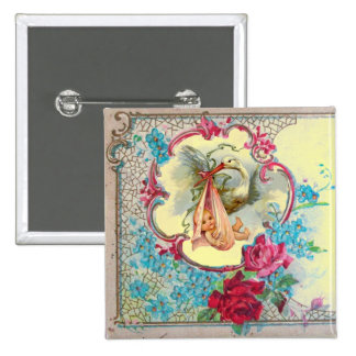 STORK GIRL BABY SHOWER /PINK ROSES BLUE FLOWERS 2 INCH SQUARE BUTTON