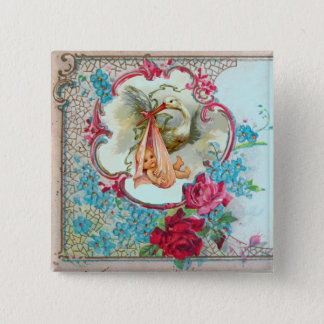 STORK GIRL BABY SHOWER /PINK ROSES BLUE FLOWERS PINBACK BUTTON