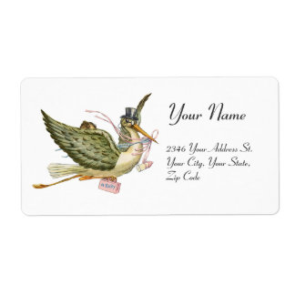 STORK GIRL BABY SHOWER , Pink White Shipping Label