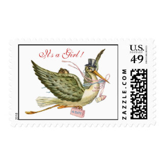 STORK GIRL BABY SHOWER POSTAGE