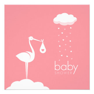 Stork Girl Delivery Baby Shower invitation