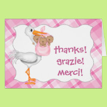 Stork & Girl Triplets (dark skin) Thank You Card