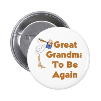 Stork Great Grandma To Be Again 2 Inch Round Button