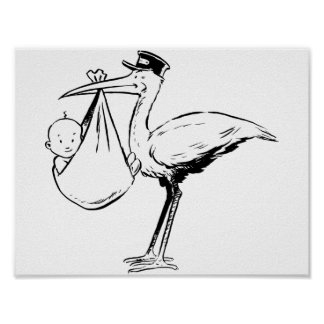 Stork Holding A Baby Poster