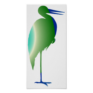 Stork in Blue and Green Poster