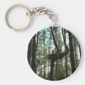 Stork in the forest basic round button keychain