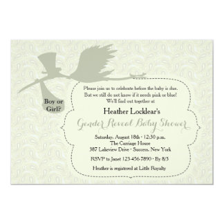Stork is on the Way Gender Reveal Baby Shower 5x7 Paper Invitation Card