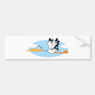 Stork Mascot Cartoon Character Bumper Sticker