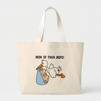 Stork Mom of Twin Boys Large Tote Bag