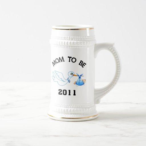 Stork Mom to Be Boys Coffee Mugs