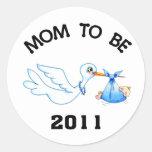 Stork Mom to Be Boys Sticker
