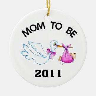 Stork Mom to Be Christmas Tree Ornaments