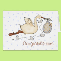 Stork New Baby Boy Greeting Card