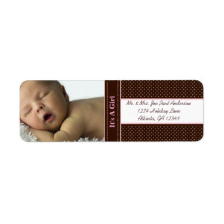 Stork New Baby It's A  Girl Brown & Pink Dots Return Address Labels