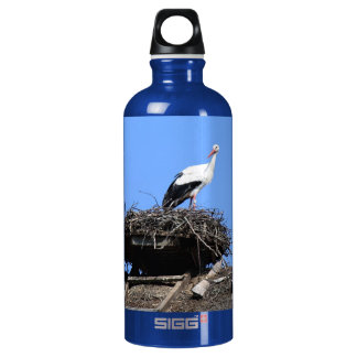 Stork on nest aluminum water bottle