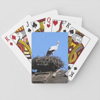 Stork on nest card deck